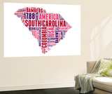South Carolina Word Cloud Map Wall Mural by  NaxArt
