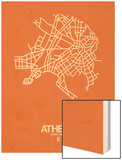 Athens Street Map Orange Wood Print by  NaxArt