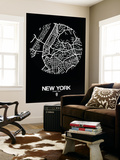 New York Street Map Black Wall Mural by  NaxArt