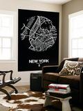 New York Street Map Black Wall Mural by  NaxArt