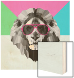 Party Lion in Red Glasses Wood Print by Lisa Kroll