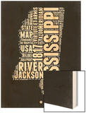 Mississippi Black and White Map Wood Print by  NaxArt
