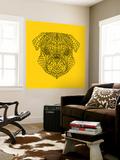 Pug Head Yellow Mesh Wall Mural by Lisa Kroll