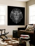 Lion Head Black Mesh Wall Mural by Lisa Kroll