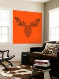Moose Head Orange Mesh Wall Mural by Lisa Kroll