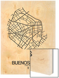 Buenos Aires Street Map White Wood Print by  NaxArt