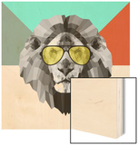 Party Lion in Glasses Wood Print by Lisa Kroll