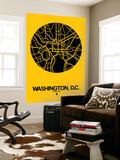 Washington, D.C. Street Map Yellow Wall Mural by  NaxArt