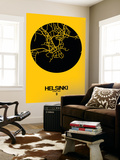 Helsinki Street Map Yellow Wall Mural by  NaxArt