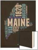 Maine Word Cloud 1 Wood Print by  NaxArt