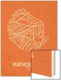 Buenos Aires Street Map Orange Prints by  NaxArt