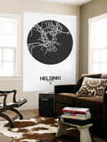 Helsinki Street Map Black on White Wall Mural by  NaxArt