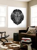 Lion Head Black Mesh 2 Wall Mural by Lisa Kroll