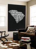 South Carolina Black and White Map Wall Mural by  NaxArt