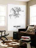 Helsinki Street Map White Wall Mural by  NaxArt