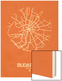 Budapest Street Map Orange Wood Print by  NaxArt
