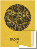 Sao Paulo Street Map Yellow Poster by  NaxArt