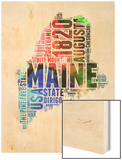 Maine Watercolor Word Cloud Wood Print by  NaxArt
