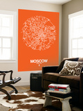 Moscow Street Map Orange Wall Mural by  NaxArt