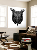 Black Owl Head Mesh Wall Mural by Lisa Kroll