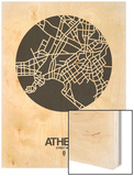Athens Street Map Black on White Wood Print by  NaxArt