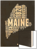 Maine Black and White Map Wood Print by  NaxArt