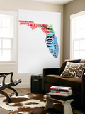 Florida Watercolor Word Cloud Wall Mural by  NaxArt