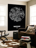 Warsaw Street Map Black Wall Mural by  NaxArt