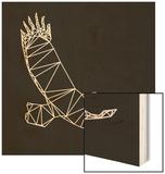Black Eagle Polygon Wood Print by Lisa Kroll