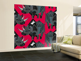 Rhinoceros Red Wall Mural – Large by Sharon Turner