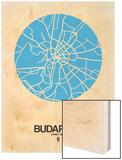 Budapest Street Map Blue Wood Print by  NaxArt