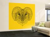 Ram Head Yellow Mesh Wall Mural – Large by Lisa Kroll