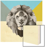 Party Lion Wood Print by Lisa Kroll