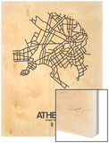 Athens Street Map White Wood Print by  NaxArt