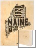 Maine Word Cloud 2 Wood Print by  NaxArt