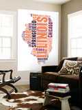 Illinois Word Cloud Map Wall Mural by  NaxArt