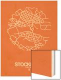 Stockholm Street Map Orange Wood Print by  NaxArt