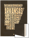 Arkansas Black and White Map Wood Print by  NaxArt