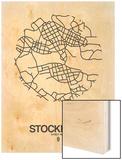 Stockholm Street Map White Wood Print by  NaxArt