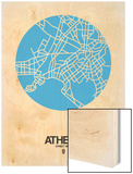 Athens Street Map Blue Wood Print by  NaxArt