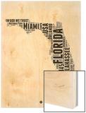 Florida Word Cloud 2 Wood Print by  NaxArt