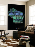 Wisconsin Word Cloud 1 Wall Mural by  NaxArt