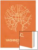 Washington, D.C. Street Map Orange Wood Print by  NaxArt