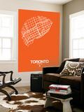 Toronto Street Map Orange Wall Mural by  NaxArt