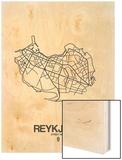Reykjavik Street Map White Wood Print by  NaxArt