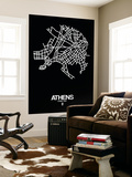 Athens Street Map Black Wall Mural by  NaxArt