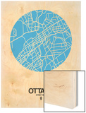 Ottawa Street Map Blue Wood Print by  NaxArt