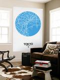 Tokyo Street Map Blue Wall Mural by  NaxArt