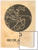 Rio de Janeiro Street Map Black on White Wood Print by  NaxArt