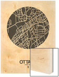 Ottawa Street Map Black on White Wood Print by  NaxArt